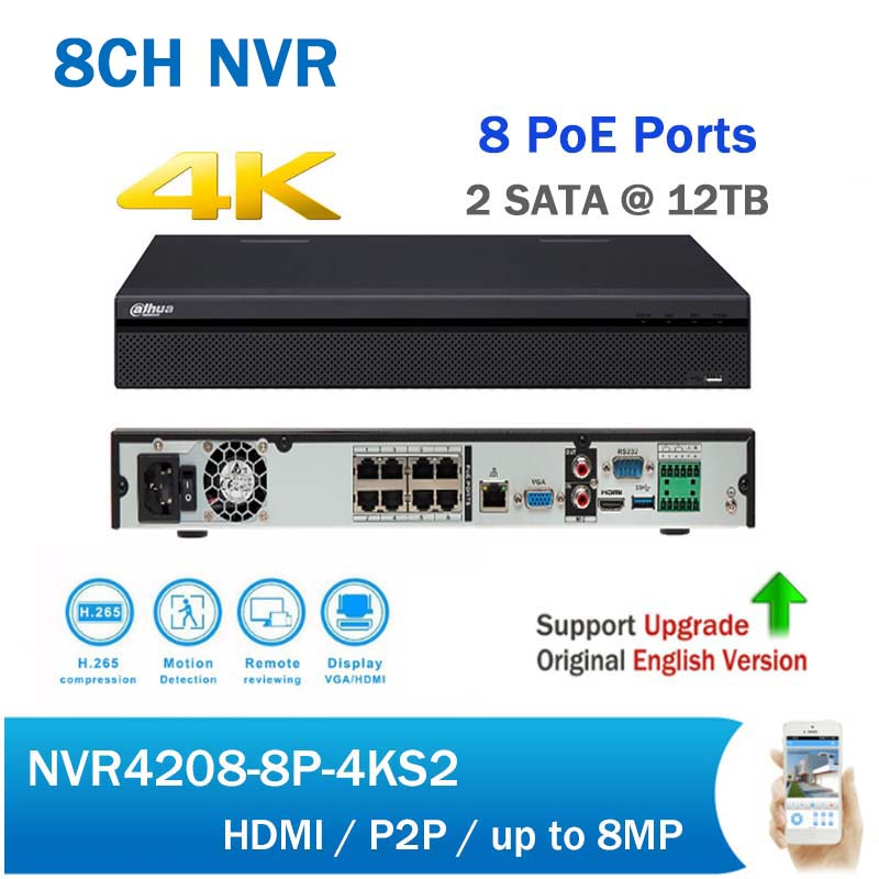 DH NVR4208-8P-4KS2 H.265 4K 8CH PoE NVR support 2SATA Security CCTV Network Video Recorder DHI-NVR4208-8P-4KS2 dahua network video recoder nvr4208 8p hds2 nvr4216 16p hds2 8 16ch nvr support onvif poe nvr recorder for poe camera