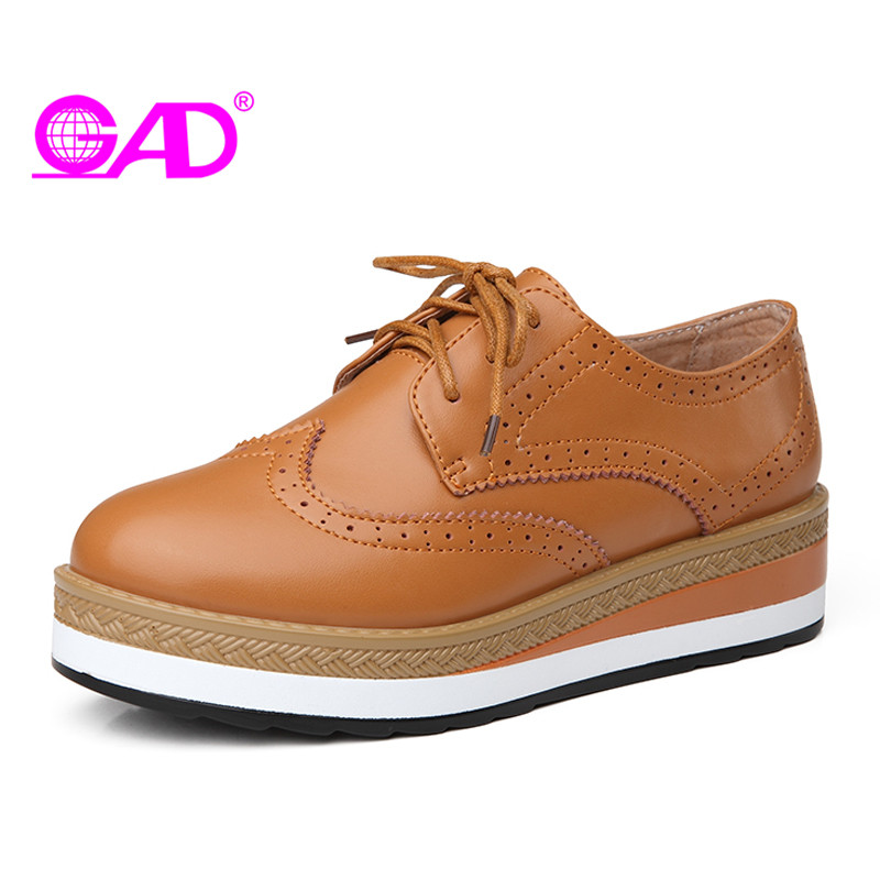 GAD Women Flat Platform Shoes Fashion Carved Brogue Shoes Spring/Autumn Thick Bottom Lace-up Flat Shoes Women Casual Shoes minika new arrival women casual shoes fashion flat platform lace up women flat shoes hollow upper breathable sneaker women shoes