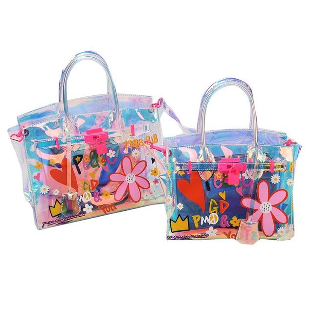 Cute Graffiti Printing Holographic Laser Lock Platinum Bag Jelly Transpa Satchel Fashion Summer Beach