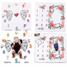 Blommatryckta barndukar Svaddle Wrap Söt Mjukt Blankett Nyfödda Mode Badhanddukar DIY Spädbarn Barn Fotbollspanna