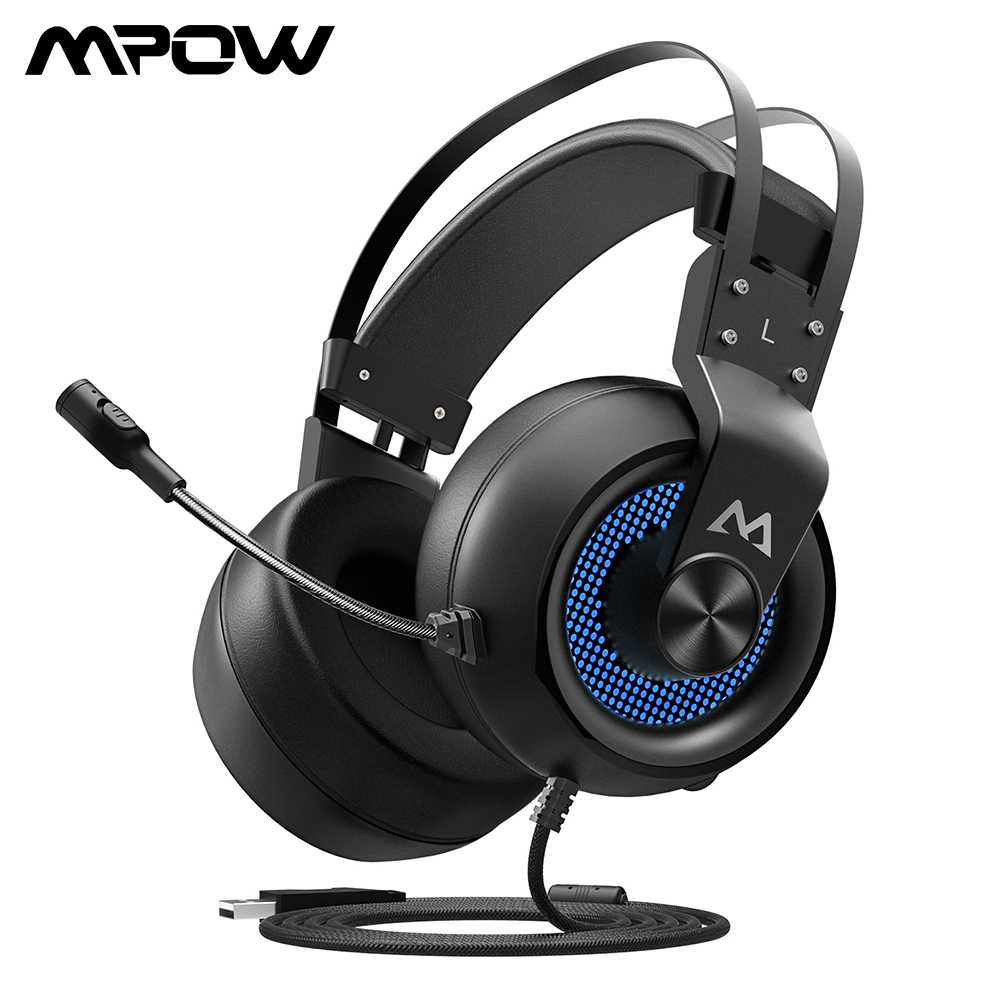 Mpow EG3 Gaming Headset USB Wired Over ear Gaming Headphones With Microphone Volume Control Soft Earmuffs