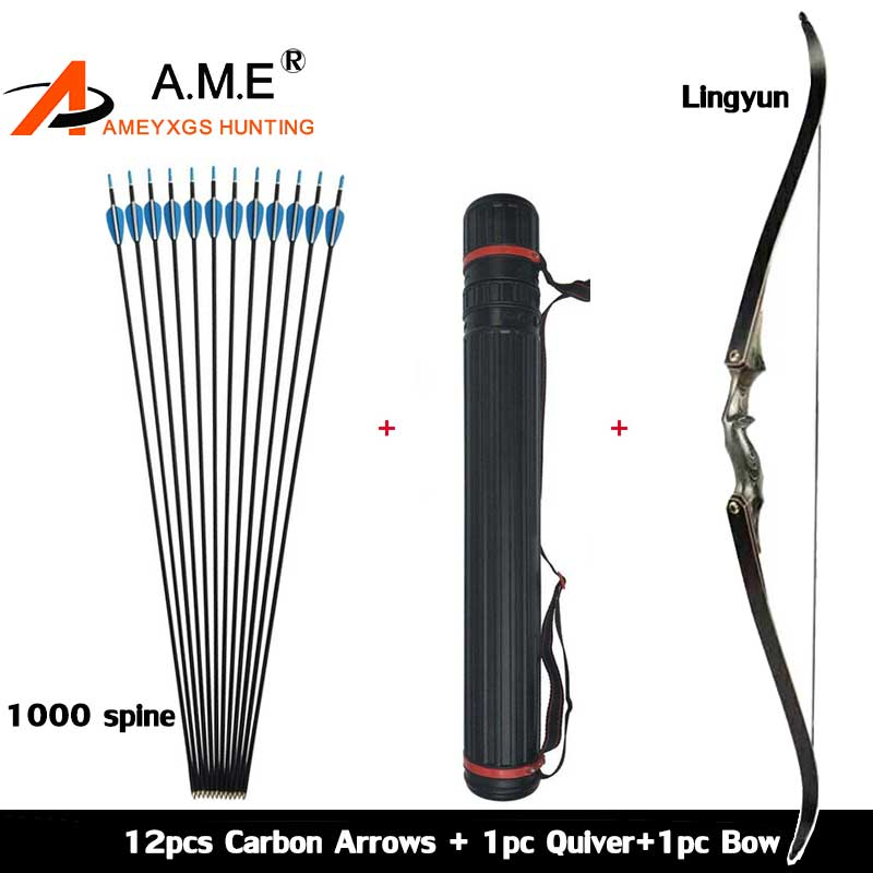 Archery Hunting Take Down 60 inch Recurve Bow Right Hand Black Color Gift Arrow Rest Shooting 30-60bls Carbon Arrows Quiver цены