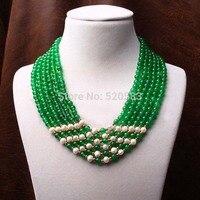 handmade GP green Natural stone ball strand multi layer pearls collar necklace women