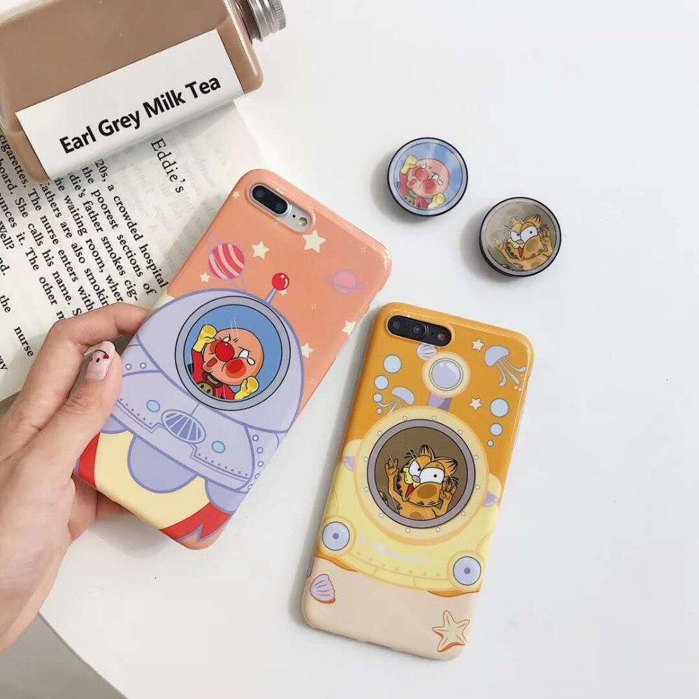 Cute Cartoon Anpanman Garfield Air Bag Cell Phone Bracket IMD Case For iPhone  Xs XR Xs Max Case For iPhone X 6 6s 7 8 Plus Case 0e32f946e0a8