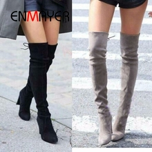 ENMAYER Top Faux Suede Women Thigh High Boots Stretch Slim Sexy Fashion Over the Knee Boots Female Shoes High Heels Black CR882