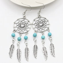Dream Catcher Drop Earrings Silver Color Dangle Feather Blue Beaded Long Tassel Statement Charm Earring Women Bohemian Jewelry(China)