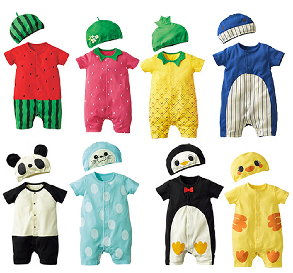 Fashion Baby Clothes Cartoon Baby Boy Girl Rompers Cotton Animal And Fruit Pattern Infant Jumpsuit+Hat Set Newborn Baby Costumes цена