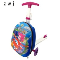 Cartoon scooter suitcase trolley case extrusion children Travel luggage Boarding box for kids