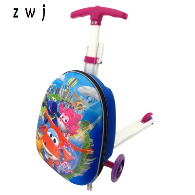 Cartoon scooter suitcase trolley case extrusion children Travel luggage Boarding box for kidsCartoon scooter suitcase trolley case extrusion children Travel luggage Boarding box for kids