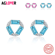AGLOVER Brand New 100% 925 Sterling Silver Dazzling Rhombus Stud Earring For Women Fine Jewelry Year Gift
