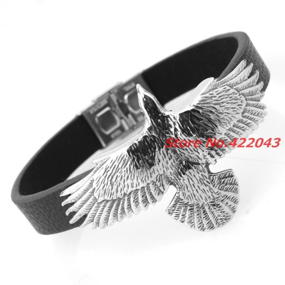 Cool 22cm Length Eagle Head Mens Bracelets Silver Color Stainless Steel  11mm Black Genuine Leather Bracelet Men Fashion Jewelry