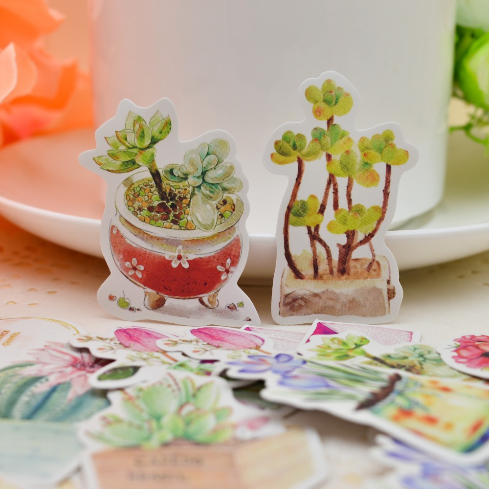 36pcs Japanese Style Fresh Cactus And Perfume Bottle Sticker Creative Cute Self-made Flowers Paper Stickers/ Hand Book Diary