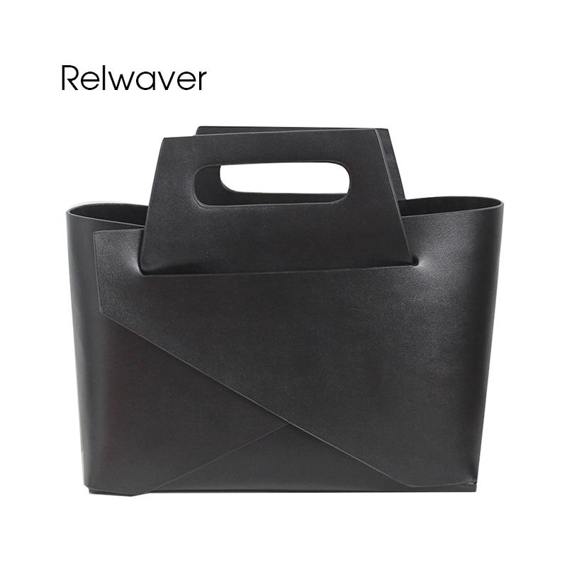 Relwaver black white women bag split leather tote women leather handbags small brief composite female shoulder crossbody bag цена