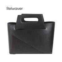 Relwaver split cowhide tote bag women leather handbags small white black brief design fashion composite shoulder bags women bag