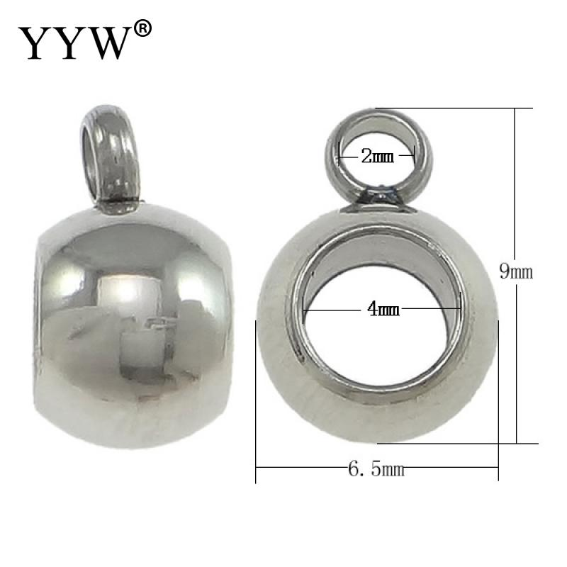 1000Pcs Stainless Steel Bail Beads Drum Spacer with Loop Hanger Sliding Charm Holder 6 5x9x5mm Hole