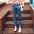 New Arrival Fashion 2016 Autumn Solid Blue Denim Casual Loose Vintage Boyfriend Pencil Jeans Women