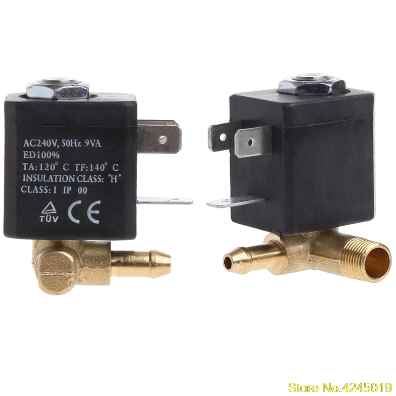 2018 High quality Cannula N/C AC 230V G1/8 Brass Steam Air Generator Water Solenoid Valve Coffee free shipping 1pc high quality 3 8 electric solenoid valve water air n c all brass two way valve body on sales 2w040 10