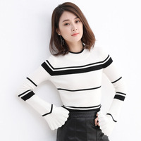 2018 New Arrival Womens Warm Sweater Pullover Speaker Sleeves Bottoming Shirt Hemming Neck Striped Knit Sweaters