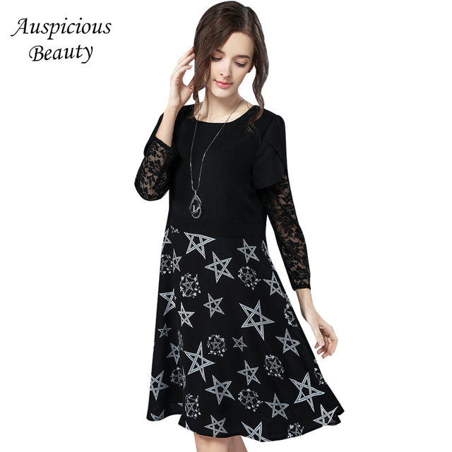 2018 New Spring Elegant Long Sleeve Party Dress Women O Neck Lace Patchwork Stars Printed Dress Black Vestidos Plus Size SUN246