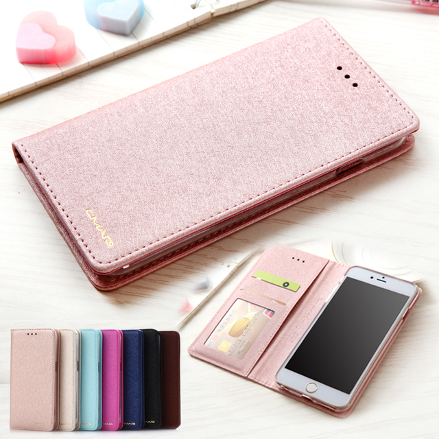 シルク革財布ケースのための iphone 6 6 S 7 8 プラス iphone X XS 最大 XR 5 5 s SE 電話マグネットカードホルダーフリップ Coque