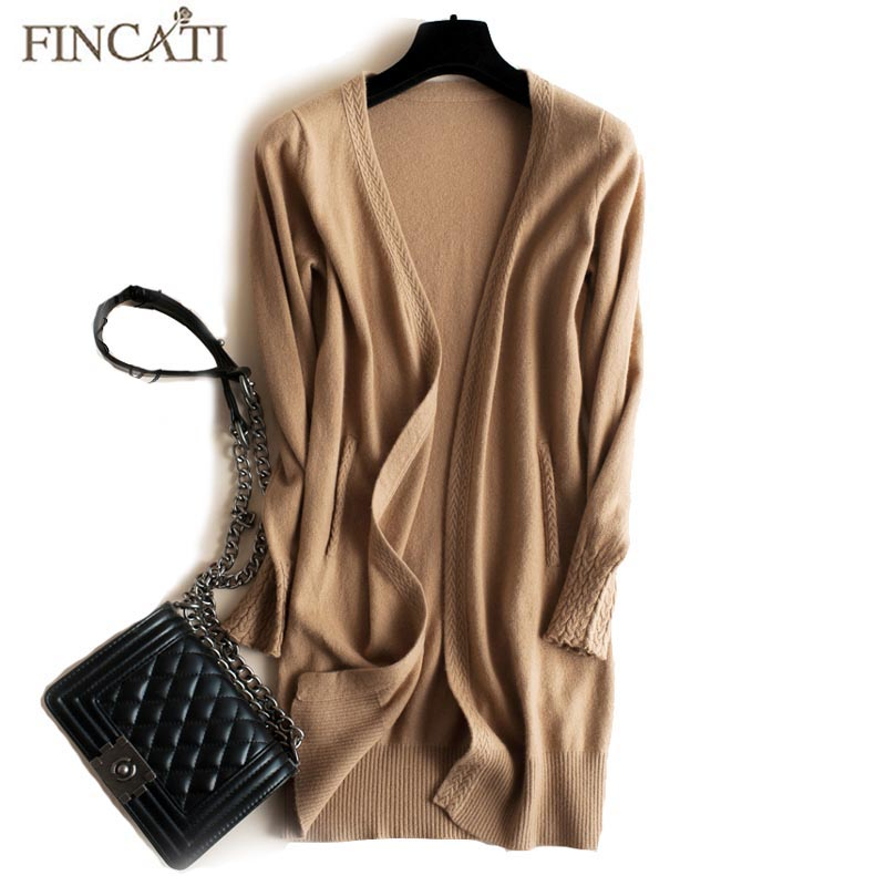 Womens Cardigan 2018 High-End Autumn Winter 100% Pure Cashmere Open Stitch Cardigans Fluffy Sweater Coat Outwear Clothing