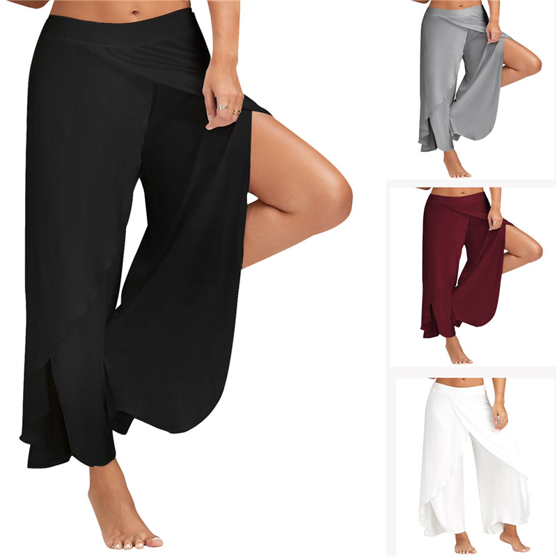 Casual Palazzo Pants Hoge Split Women Wide Leg Pants Summer Plus Size Elastic Waist High Split Loose Long Trousers