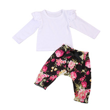 Newborn Baby Girls Floral ruffles  Lace Tops T-shirt +Floral  Harem Pants Leggings Outfits Clothes Set