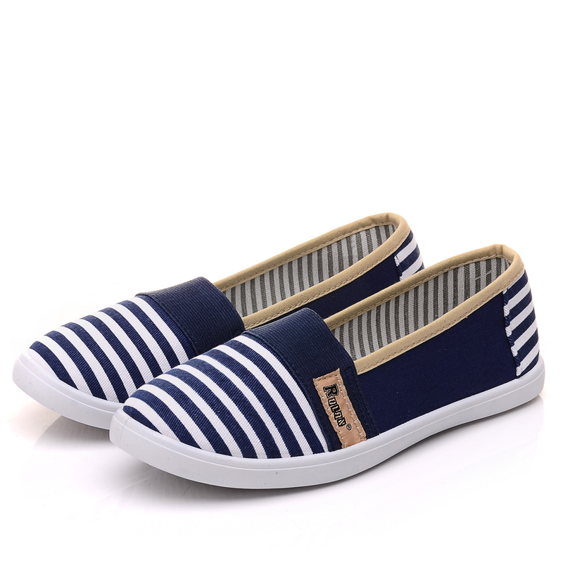 Striped Canvas Slip On Shoes