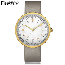 GEEKTHINK Top Luxury Brand Quartz Watch Women Fashion Leather strap Casual Japan quartz-watch Classic Creative clock female New