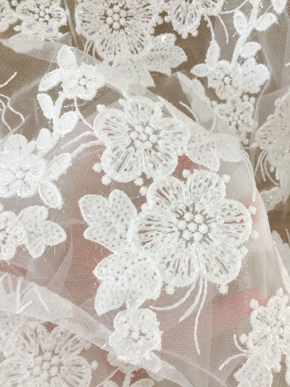 1 yard tiny pearl beaded 3D flower lace fabric in off white haute couture wedding dress