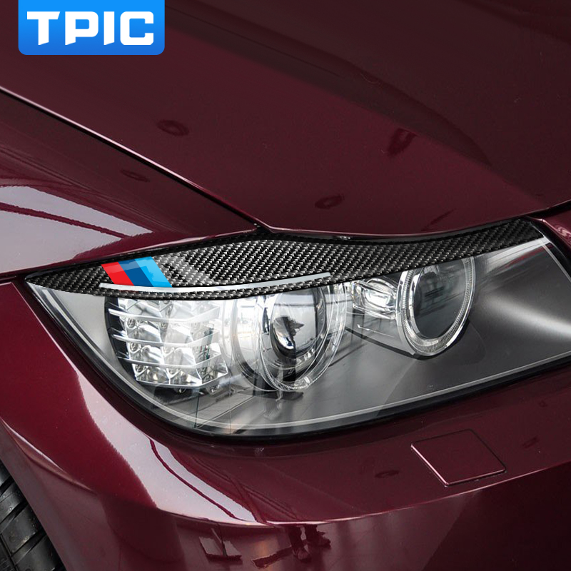 TPIC Carbon Fiber Headlights Eyebrows Eyelids Car Stickers For BMW E90 Front Headlamp Eyebrows 3 series 2005-2012 accessories(China)