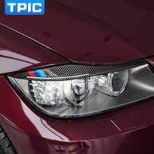 Fibra de carbono tpic faróis sobrancelhas pálpebras adesivos de carro para bmw e90 frente farol sobrancelhas 3 série 2005 2012 acessórios