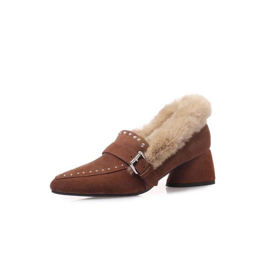 Krazing ポット子供スエード新到着オックスフォードポインテッドトゥメタルバックルソフト毛皮リベット装飾 med かかとッドヒールスリップオンコンサイス l00 パンプス  グループ上の 靴 からの レディースパンプス の中 2