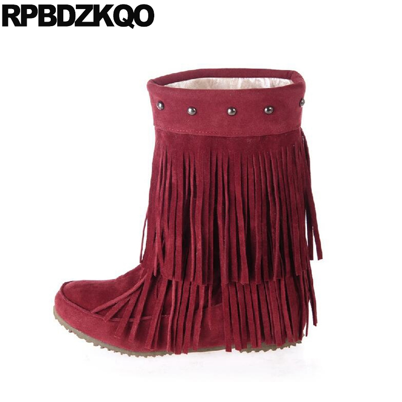 Knee High Winter Fringe Shoes Flat Fur Wine Red Mid Calf Custom Women Boots 2017 Slip On Strange Fashion Female Ladies Chinese solid black winter spring women fringe decoration shoes slip on pointed toe spike high heels mid calf boots women free shipping