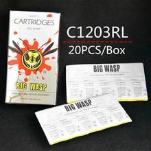 Cartuchos de agulha de tatuagem c1203rl, 20 peças top BWN C1203RL #, tubos de agulha de tatuagem 3rl, forro redondo 3, agulhas grandes de lavagem