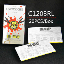 Top 20PCS C1203RL Cartridges Tattoo Needle Tubes 3RL Round Liner 3 BIG WASP Needles RL3 Supply BWN C1203RL#