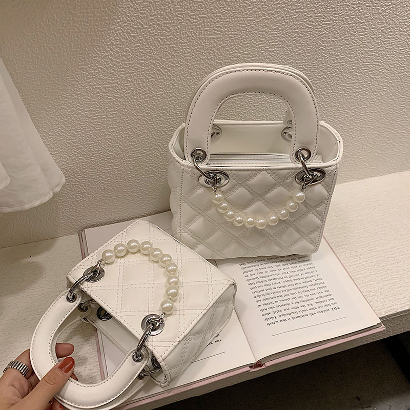 Elegant Female Pearl Small Tote Bag 2019 Summer New Quality PU Leather Women's Designer Handbag Lattice Shoulder Messenger Bags