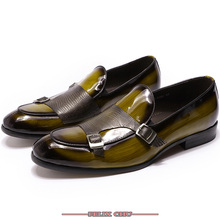 Luxury Patent Leather Men Shoes Business Wedding Dress Double Monk Strap Slip on Green Black Shoes Men Casual Shoes Loafers Men maloneda brand men s patent leather shoes custom made goodyear welted double monk straps shoes slip on dress shoes