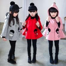 Девушки одежда верхняя одежда шерстяное пальто зимняя одежда детская 2016 мода длинная толстая Мода на 6-14 год летние девочки