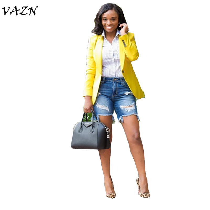 VAZN 2018 Hot Fashion Ladies Casual Women Blazers Notched Full Sleeve Blazers Women Casual Style B9039