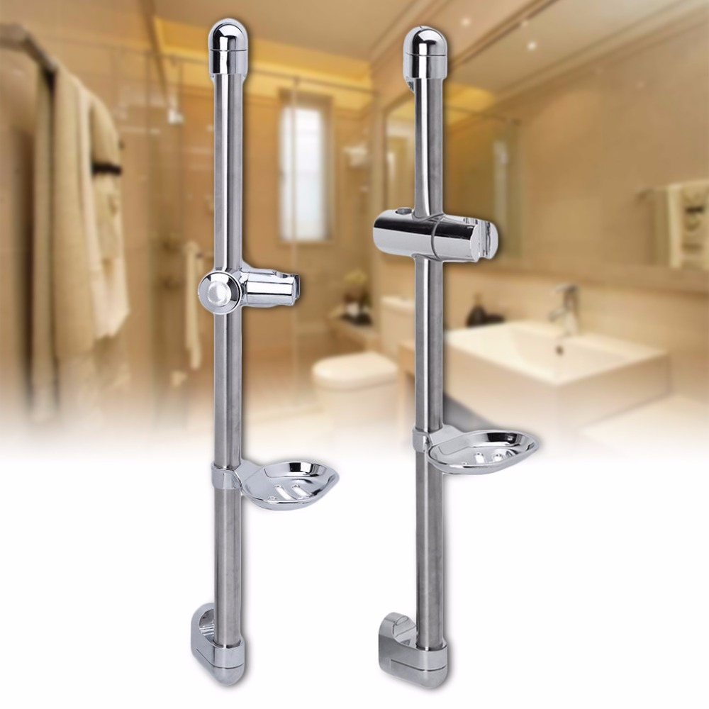 Shower Rod Soap Dish Lifter Pipe ABS Lifting Frame Adjustable Head Holder 1 SET
