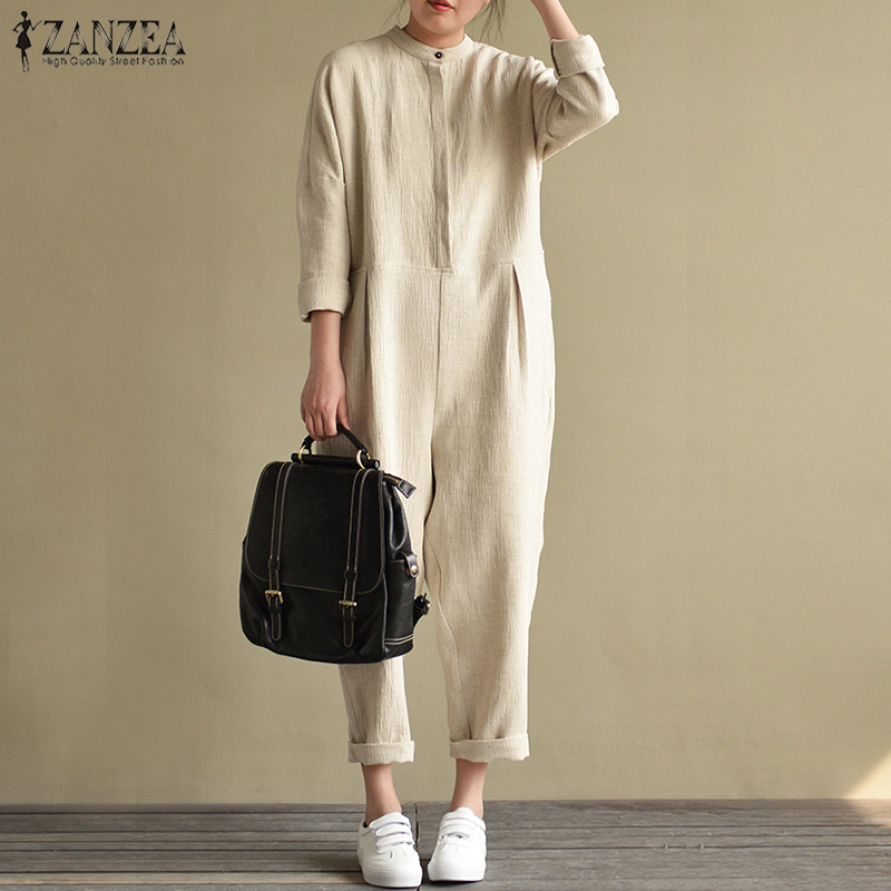 2018 ZANZEA Autumn Cotton Linen Jumpsuits Women Stand Collar Long Sleeve Solid Rompers Female Pockets Casual Overalls Plus Size