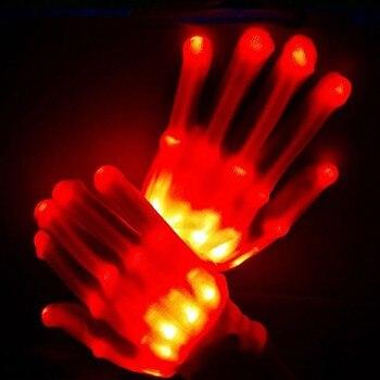 Pair of Colorful LED Gloves Rave Light Finger Lighting Flashing Gloves Unisex skeleton Glove gants femme hiver #3