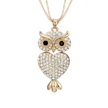 Fanqieliu Vintage Rhinestone Necklace For Women Gold Sweater Chain Animal Owl Pendants Pendant Necklace Female FQL10182 graceful rhinestone alloy sweater chain for women