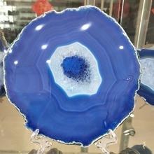 160-170MM Natural agate slices coaster Polished Blue Agate Slice цены