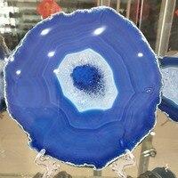 160 170MM Natural agate slices coaster Polished Blue Agate Slice