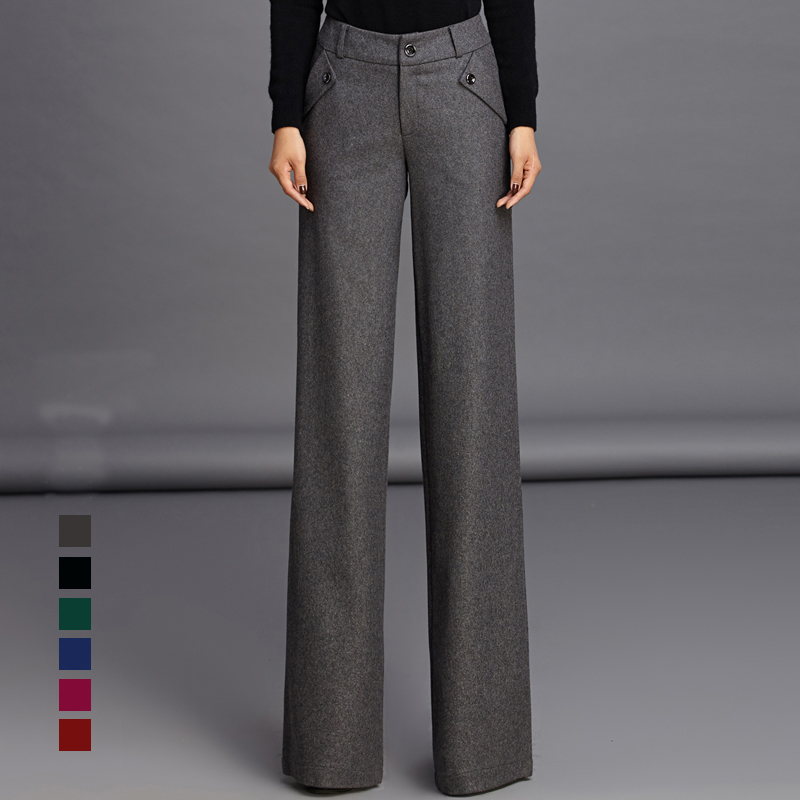 2017 Womens Formal Wool Suits Pants Fashion Wide Leg Pants