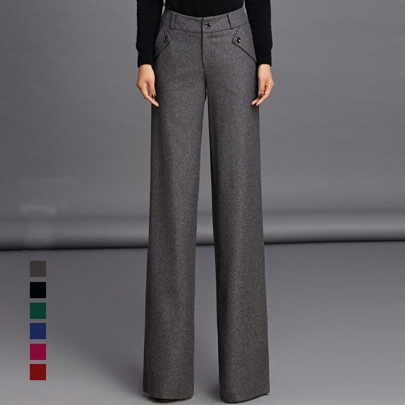 2018 Womens Formal Dress Wool Suits Pants Fashion Wide Leg ...