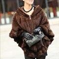 2016 Nova Marca Genuine Malha Mink Fur Xaile 100% Real Mink Fur Poncho Com Capuz Inverno Casaco de Peles De Vison