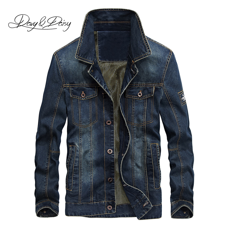 DAVYDAISY 2019 Denim Jacket Washed Cowboy Stand Collar Hip Hop Ripped Street Designer